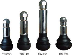 Valves, rubber coated, for tubeless wheels with chrome body